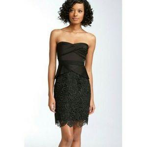 BCBG Maxazria Black Satin Crochet Dress